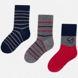Sada 3 kusů ponožky v pruhy pro chlapce Mayoral 10675-26 červená