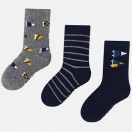 Sada 3 párů ponožek s výšivkou pro chlapce Mayoral 10676-32 Granát