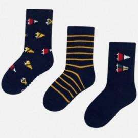 Sada 3 párů ponožky s výšivkou pro chlapce Mayoral 10676-31 Titan