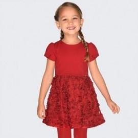 Krátké rukávy šaty s dívčí 3d efekt Mayoral 4920-22 červená