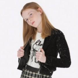 Mikina s flitry na stojatém límci pro dívku Mayoral 7409-31 Černá