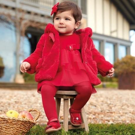 Velvet šaty s elegantní tyl pro dívku Mayoral 2916-60 purpur