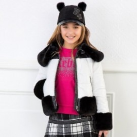 Bunda krátké s kožešinovým límcem pro dívku Mayoral 7423-2 černá