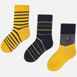 Sada 3 kusů ponožky v proužcích pro chlapce Mayoral 10675-27 Karamel