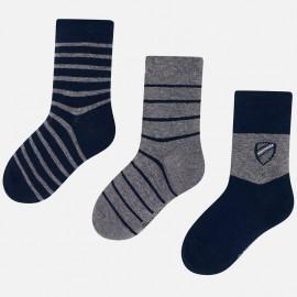 Sada 3 kusů ponožky v pruhy pro chlapce Mayoral 10675-28 Granát