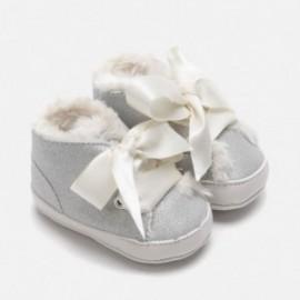 Boty botičky s lukem lesklý pro dívky Mayoral 9213-83 Stříbro