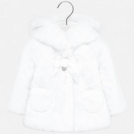 Kabát kožešina s medvídkem elegantní pro dívku Mayoral 2429-55 Bílá