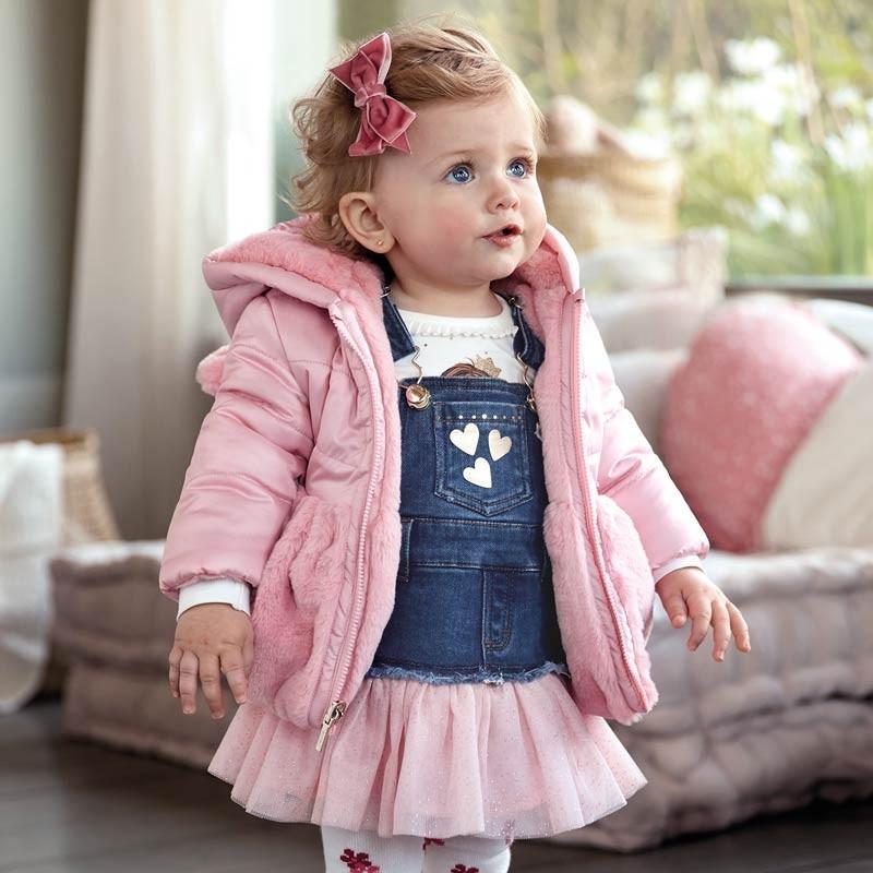 Oboustranná kožešinová bunda s kapucí pro dívky Mayoral 2433-68 Růžová