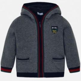 Teplý svetr s kapucí na podšívce pro chlapce Mayoral 4323-10 Steel