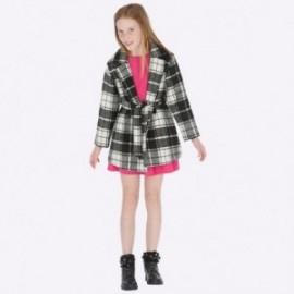 Elegantní kostkovaný kabát s páskem pro dívku Mayoral 7417-54 Černá