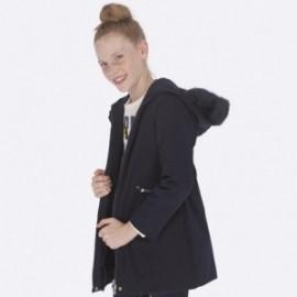 Lesklá dlouhá zimní bunda pro dívky Mayoral 7422-34 Navy