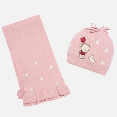 Set klobouk a šátek s výšivkou pro dívku Mayoral 10645-10 růžový