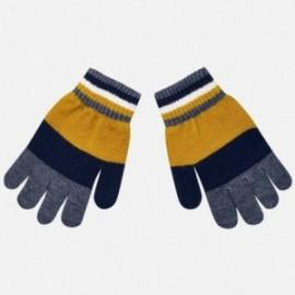 Tříbarevné trikolorní rukavice pro chlapce Mayoral 10686-27 Caramel