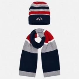 Set klobouk a šátek s pruhy pro chlapce Mayoral 10695-57 granát
