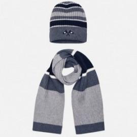 Set klobouk a šátek s pruhy pro chlapce Mayoral 10695-58 šedá