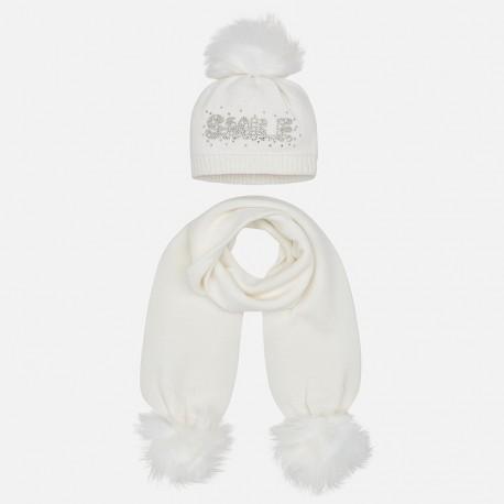 Nastavit klobouk a šátek s nápisem pro dívku Mayoral 10700-38 Cream