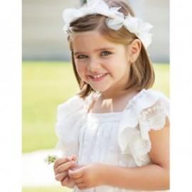 Lněné vyšívací šaty pro dívku Abel & Lula 5001-3 krém