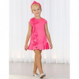 Formální saténové šaty s volánkami pro dívku Abel & Lula 5036-4 Pink