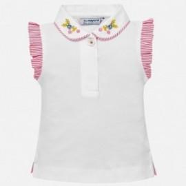 Mayoral 1109-21 Polo s výšivkou pro dívky bílá