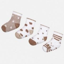 Mayoral 9006-50 Sada 4 párů dětských ponožek hnědý