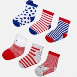 Mayoral 9053-54 Sada 6 párů dětských ponožek Červená