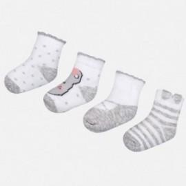 Mayoral 9078-96 Sada 4 párů dívčích ponožek šedá