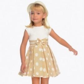 Mayoral 3938-84 Elegantní dívčí šaty s popruhy světle hnědé
