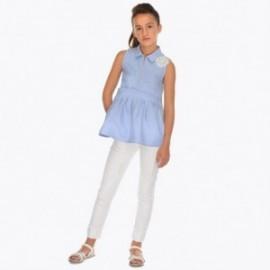 Mayoral 6504-60 Dlouhé kalhoty s tryskami dívčí bílá