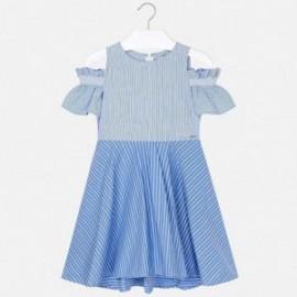 Mayoral 6936-2 Šaty s holými rameny pro dívku modrou