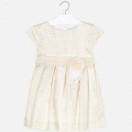 Mayoral 3912-72 Dětské žakárové šaty s puntíky krém