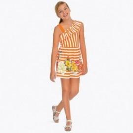 Mayoral 6948-78 Dívčí pruhované šaty oranžový