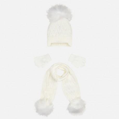 Komplet czapka i szalik dla dziewczynki Mayoral 10701-46 Kremowy