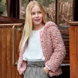 kabát kožešina s kapucí holčičí Mayoral 7416-30 fialová