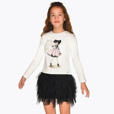 Saty denní s tylovou sukní pro dívky Mayoral 7926-16 Černá