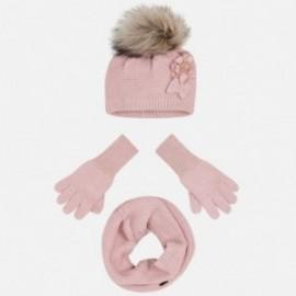 Set cap komínové rukavice pro dívku Mayoral 10699-30 Nude