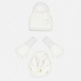 Set cap komínové rukavice pro dívku Mayoral 10699-32 Cream
