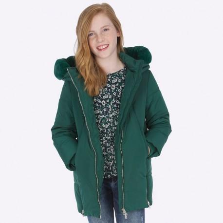 Bunda dlouhá zima s kapucí na zip pro dívky Mayoral 7420-31 Láhev