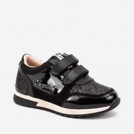 Boty běžící tenisky suchý zip pro dívky Mayoral 48057-43 Černá
