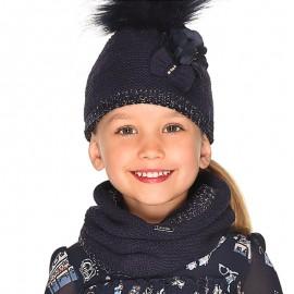 Set cap komínové rukavice pro dívku Mayoral 10699-27 granát