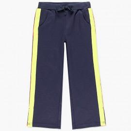 Bawełniane spodnie dresowe z lampasami dla dziewczynki Boboli 408125-2440-S granat
