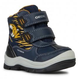 Zimní holínky pro chlapce GEOX B943VA-054FU-C0657-S mořská / žlutá