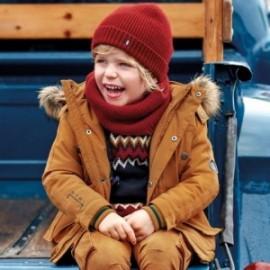 Bunda s kožešinou a kapucí pro chlapce Mayoral 4444-68 karamel
