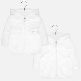 Oboustranná kožichová bunda s kapucí pro dívky Mayoral 2433-70 krém