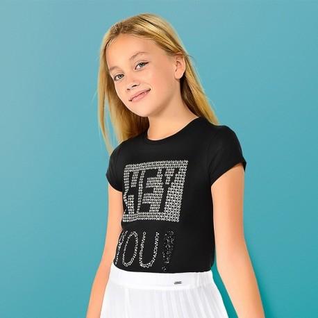 Mayoral 6016-40 Tričko s aplikací holčičí Černá