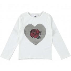 iDO Bluzka bawełniana z długim rękawem dla dziewczynek K930-0112 krem