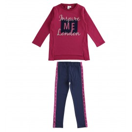 iDO Komplet bluza i legginsy dziewczęce K976-8197 bordo
