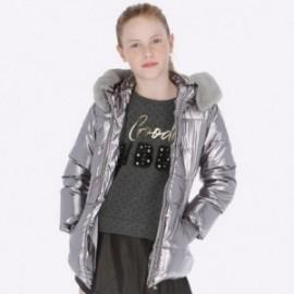 Bunda zima s kapucí s leskem holčičí Mayoral 7425-70 stříbro