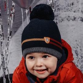 Jamiks MACIUŚ IV chlapecká čepice s střapcem námořnická modrá