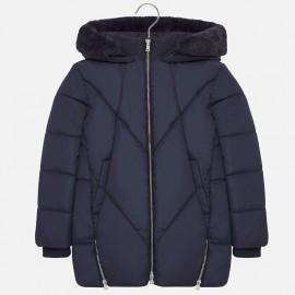 Dlouhá zimní bunda s kapucí, se zipem pro dívky Mayoral 7420-32 Navy Blue