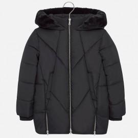 Dlouhá zimní bunda s kapucí se zipem pro dívky Mayoral 7420-33 Černá
